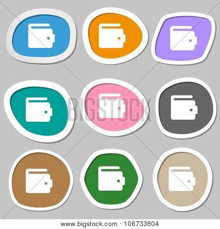 Purse Icon Symbols. Multicolored Paper Stickers. Vector