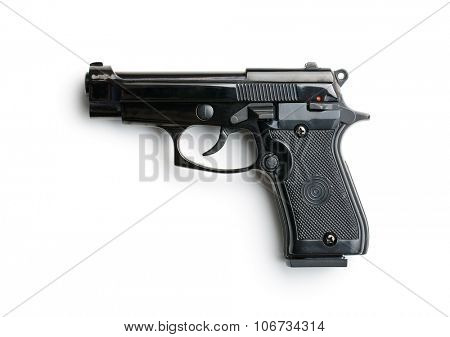black handgun on white background
