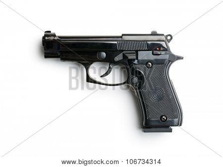 black handgun on white background