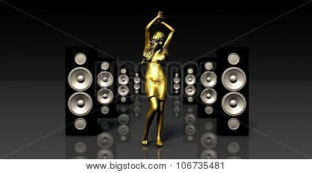 Sound System with Female Dancing as a Music Concept