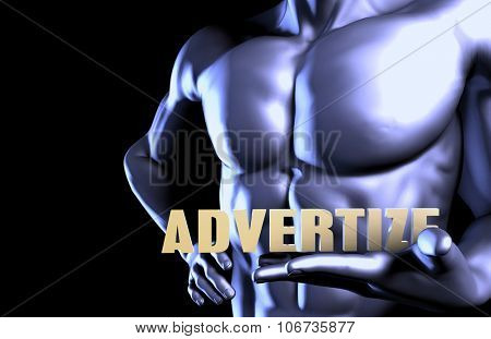 Advertize With a Business Man Holding Up as Concept