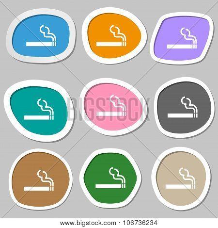 Cigarette Smoke Icon Symbols. Multicolored Paper Stickers. Vector