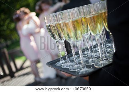 Wedding reception with sparkling wine or champagne