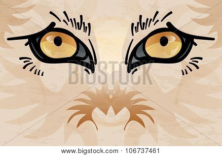 Abstract Animal Face With Eyes