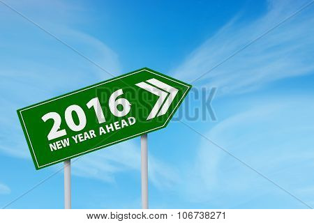 Road Sign Shaped Arrow With Numbers 2016