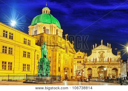 Saint Francis Of Assisi Church Square In Prague.czech Republic.