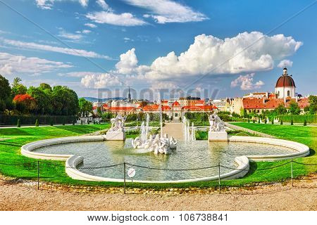Upper Belvedere.beautiful Fountains In Complex Belvedere.vienna. Austria.