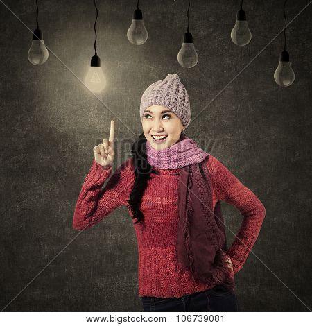 Smiling Woman Having An Idea