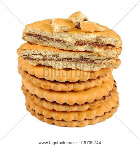 Sandwich Biscuits With Chocolate Filling Isolated On White Background