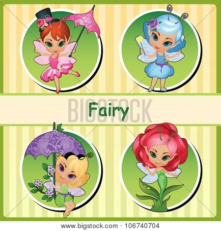 Four cute fairies - pink, blue, purple and Rose