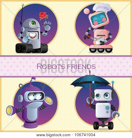Robots friend, four cartoon character
