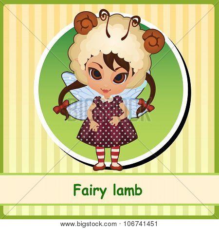Fairy lamb - cute girl in brown dress