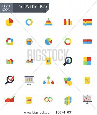 Vector Flat Statistics Icons Set
