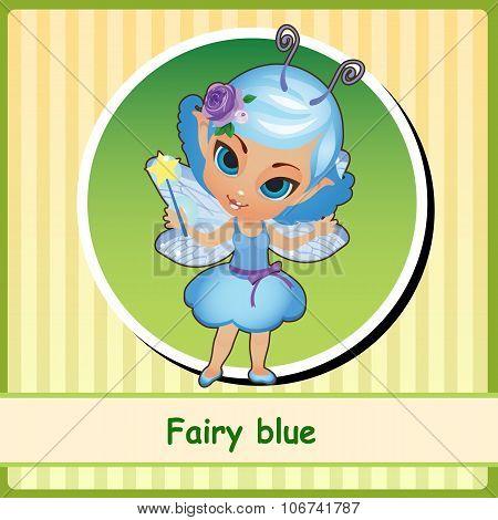 Fairy in blue dress - hand-drawn illustration