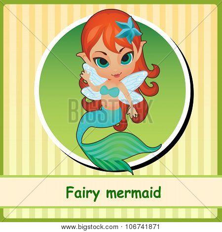 Fairy mermaid - cute girl illustration closeup