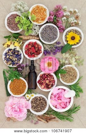 Herbal medicine flower and herb selection with dropper bottle and mortar with pestle forming an abstract background over handmade hemp paper background.