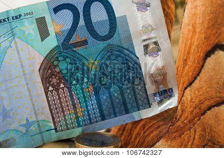 Money Twenty Euro Bill And Coins