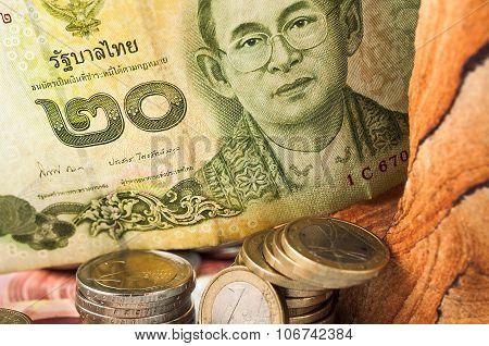 Money Thai Baht Bill Coins