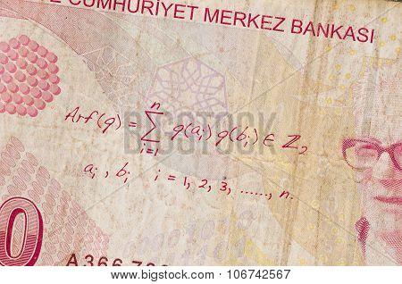 10 Turkey Lira Money Notes Background Closeup