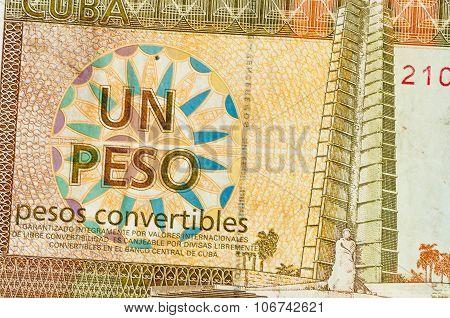 1 Cuba Peso Money Notes Background Closeup