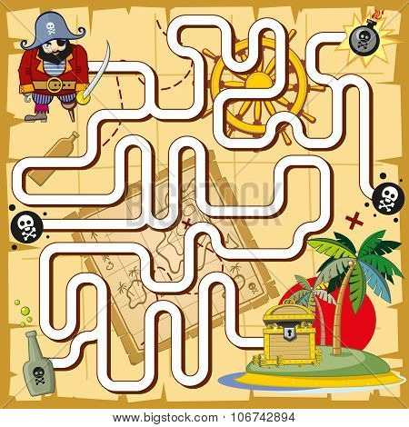 Pirate maze, labyrinth game for preschool children. Vector illustration