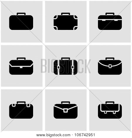 Vector Black Briefcase Icon Set