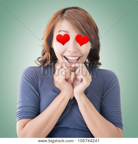 Emoji face expression of an Asian woman.