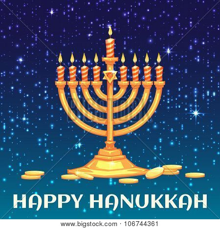 Hanukkah menorah with candles and coins. Vector illustration
