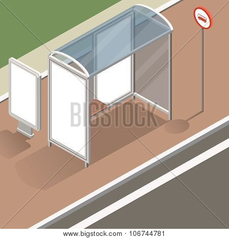 isometric bus stop mockup