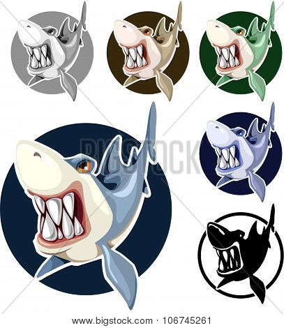 Sharks set assorted colors in the circle