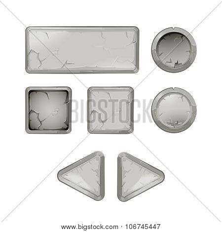 Cartoon stone buttons vector set