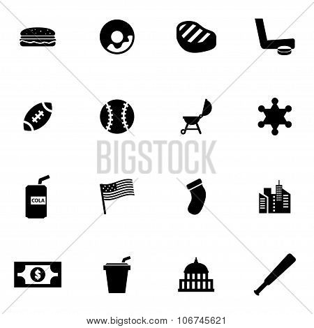 Vector Black Usa Icon Set