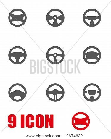 Vector Grey Steering Wheels Icon Set