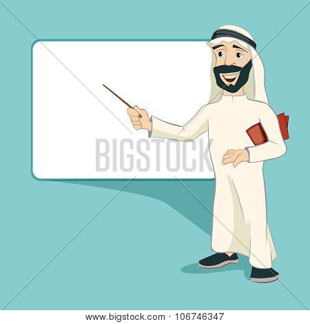 Arab businessman stands at blank white board. Vector cartoon character