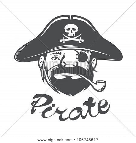 Pirate Head With Pirate Hat And Pipe