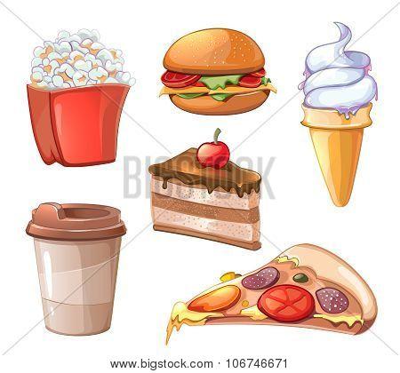 Cartoon fast food icons
