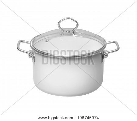 White Saucepan With Glass Lid On White Background