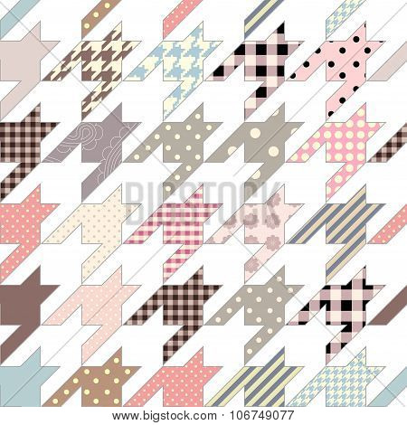 Hounds-tooth geometric pattern of patchworks