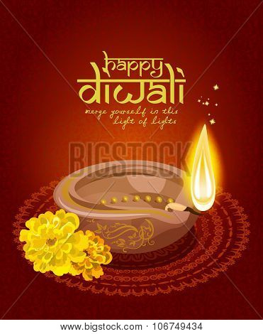 Vector greeting card for Hindu community festival Diwali