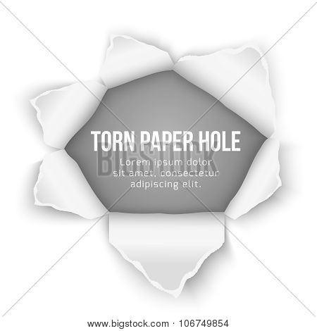 Torn paper hole vector background