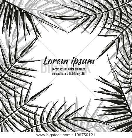 Abstract vector exotic background with tropical palm leaves