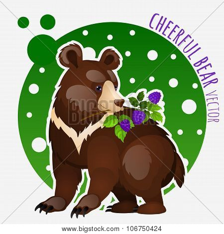 Bear with blackberries on white-green background