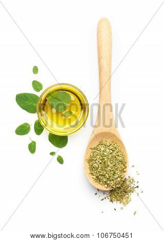 Oregano Leaves, Dried Oregano And Olive Oil
