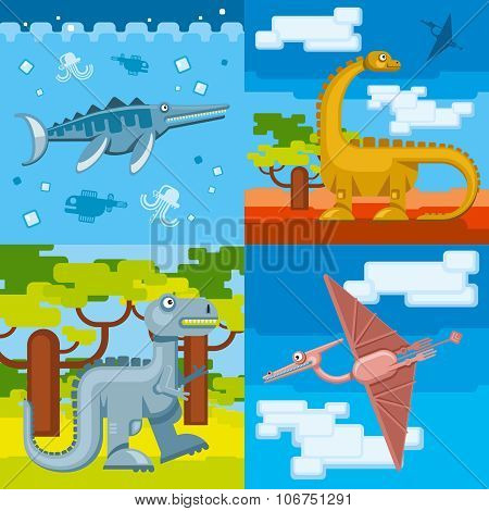 Dinosaur prehistoric concept backgrounds set in flat design style