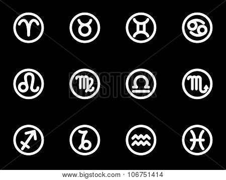 Vector White Zodiac Symbols Icon Set