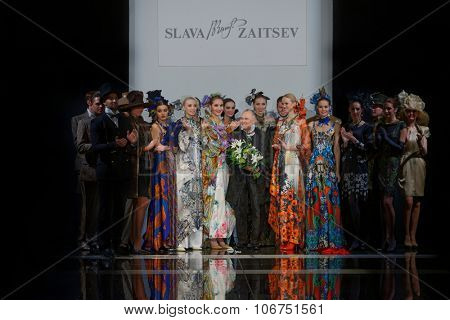 ST. PETERSBURG, RUSSIA - OCTOBER 28, 2015: Slava Zaitsev (center) with his collection at the fashion show during Mercedes-Benz Fashion Day St. Petersburg