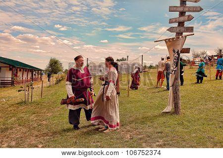 Vatra, Moldova. June 28, 2015. Medieval Festival.  Unidentified Participants Dressed In Medieval Clo