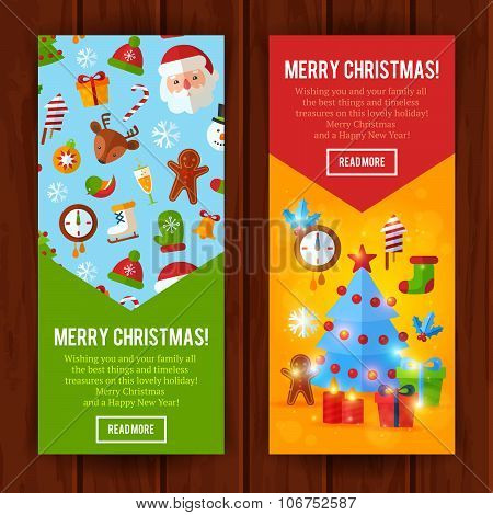 Christmas Flat Greeting Cards And Banners Santa, Deer, Xmas Tree