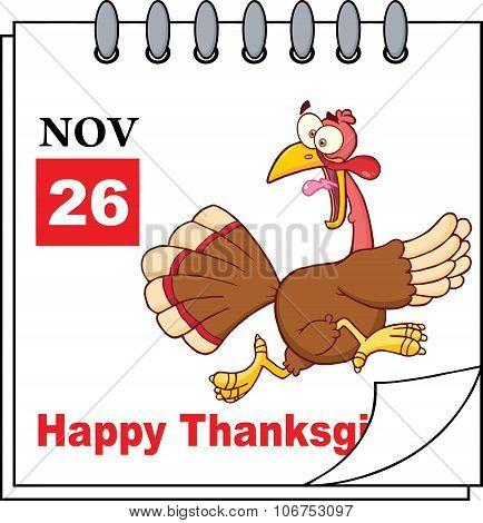 Calendar Page With Cartoon Turkey Escape