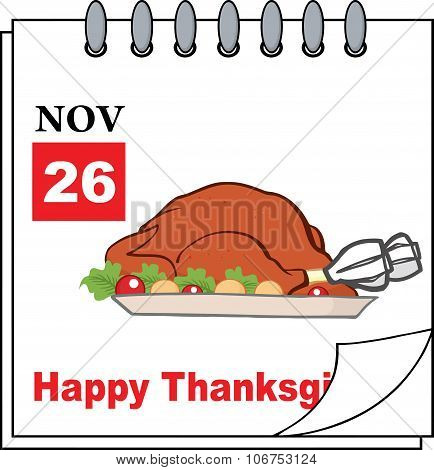 Calendar Page With Roasted Turkey